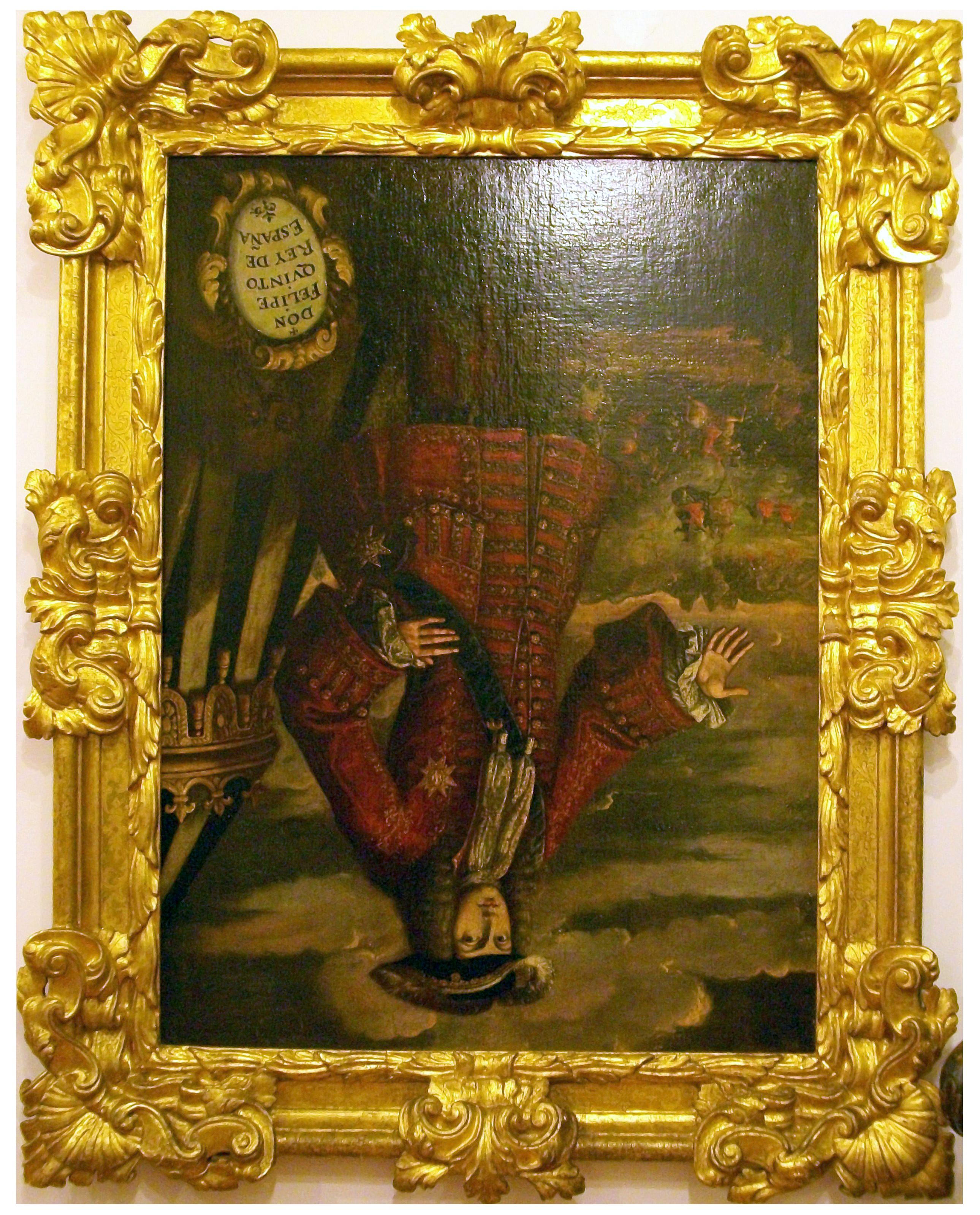 Retrat de Felip V, penjat cap per avall com a càstig per les tres vegades que manà cremar i destruir la ciutat de Xàtiva.