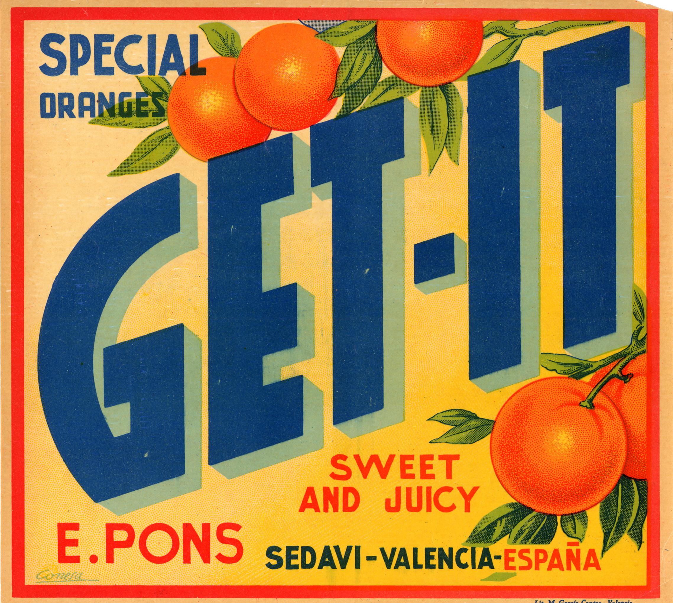 Etiqueta de taronges valencianes.