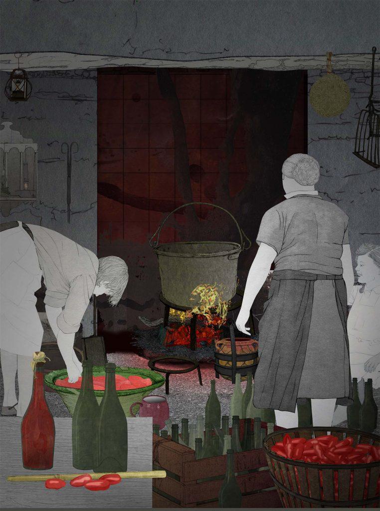 Il·lustració de gent cuinant tomaques per Andrés Marín.